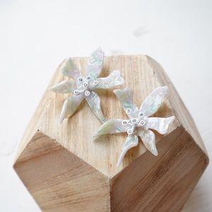 Mint Water Lily Drop Earrings